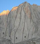 Rock Climbing Photo: Ruby Wall of Ruby Peak: (1) East Corner (LeMay-Car...