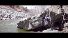 Rock Climbing Photo: Kai setting up for the crux move.
