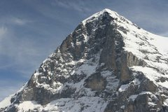 Rock Climbing Photo: Close-up of the Eiger North Face, and the top of t...