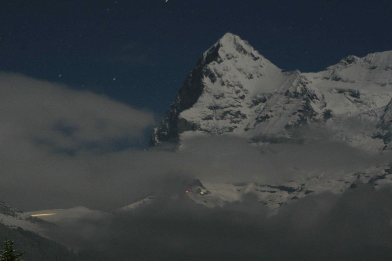 The Eiger from Mürren by moonlight