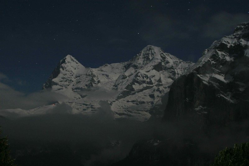 The Eiger and the Mönch by moonlight from Mürren.