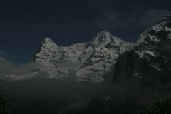 Rock Climbing Photo: The Eiger and the Mönch by moonlight from Mürren...