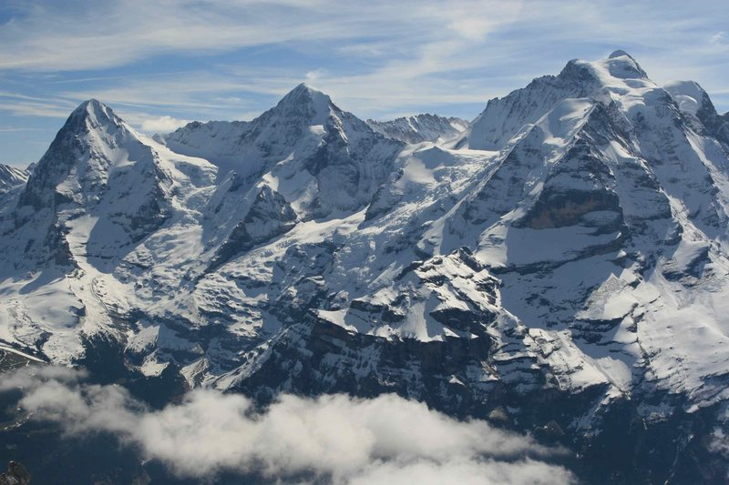 The Eiger, Mönch and Jungfrau, from the Schilthorn