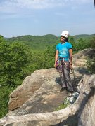 Rock Climbing Photo: My wife Christine after her first multi pitch clim...