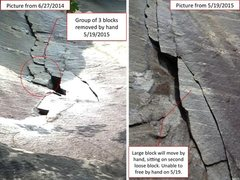 Rock Climbing Photo: 5/19/2015 loose blocks removed