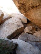 Rock Climbing Photo: Scramble up 4th class blocks to reach the slab rou...