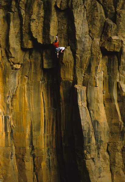 JJ climbing Black and Tan 5.10, The Waterfall, AZ <br> Late 90's.<br> <br> James Q Martin Collection