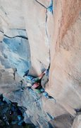 Rock Climbing Photo: David Bloom resting up after the roof, and eyeing ...