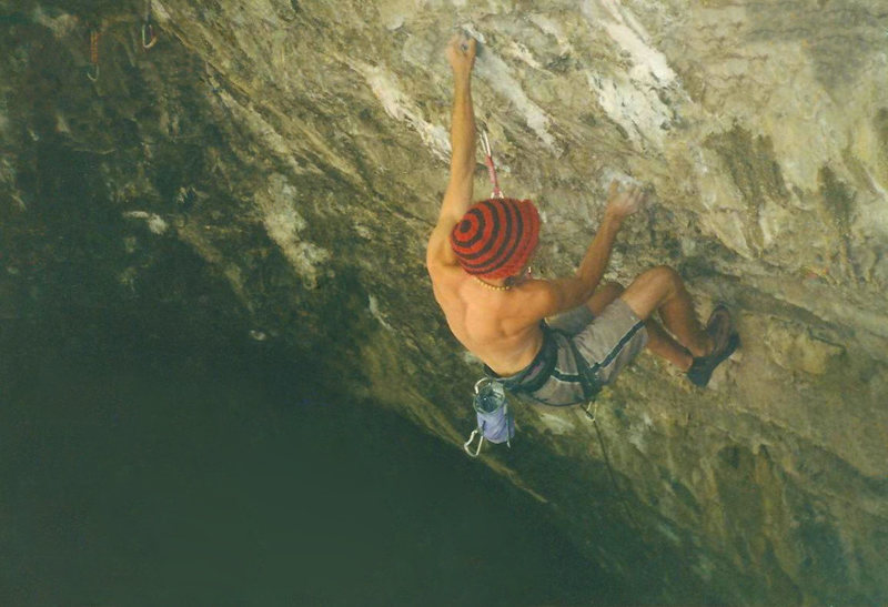 Rock Climbing Photo: Jared Roth working I Scream, not long before his e...