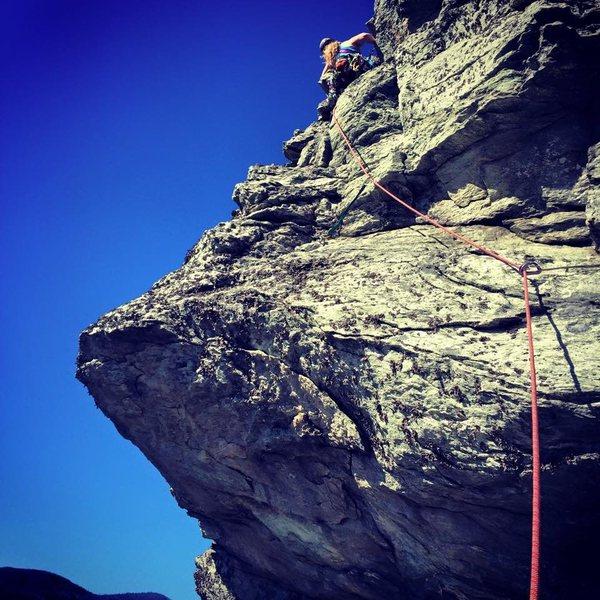 Rock Climbing Photo: Climbing The Prow, Linville Gorge