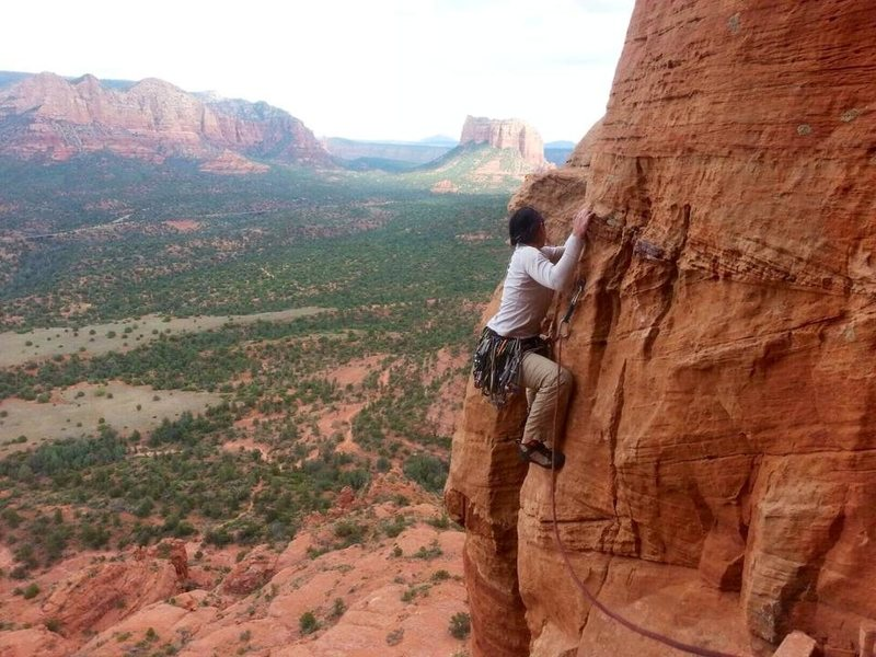 "Traverse on ""The Mace"" in Sedona. A bit exposed, leads to a chimney."