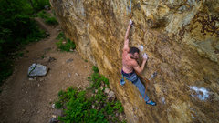 Rock Climbing Photo: Cole pulling through nice slots while smearing on ...