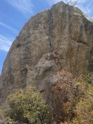 Rock Climbing Photo: From knob (marked with pink circle), head up faint...