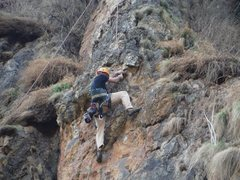 Rock Climbing Photo: Cleaning the route for bolting