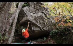 Rock Climbing Photo: Sticking the crux deadpoint on 'The Block Problem'...