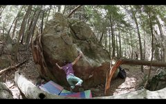 Rock Climbing Photo: Sticking the all out dyno (for me at least) on 'Gu...