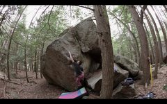 Rock Climbing Photo: Sticking the awkward crux deadpoint of 'Innovator'...