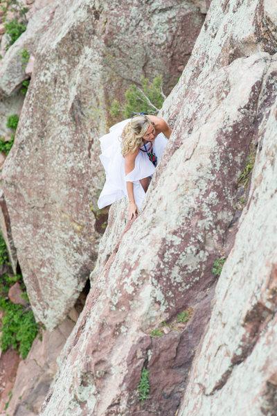 Bride Climbing The Bomb on Wind Tower at Eldo