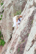Rock Climbing Photo: Bride Climbing The Bomb on Wind Tower at Eldo