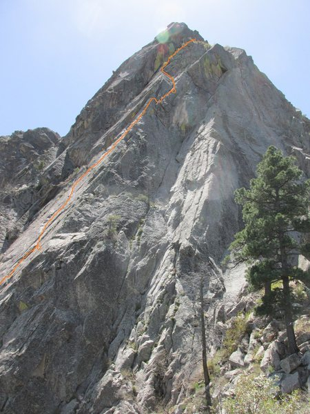 View from the top of High Pines, the line of pines just below the cliffs. The bottom of the route is not visible, but the belays of Pitch 1 and Pitch 2 are marked.