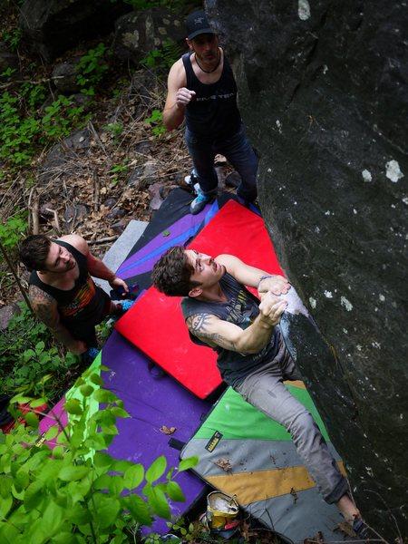 Rock Climbing Photo: Baker getting on two women