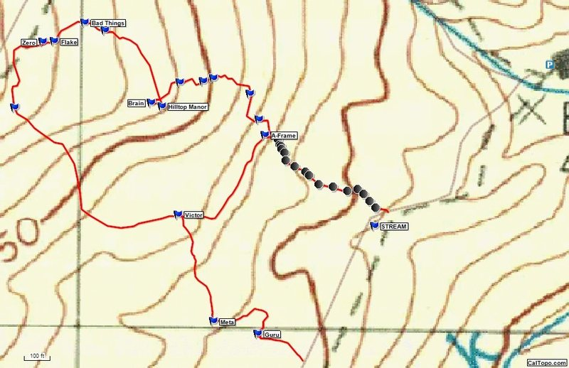 Topo showing the locations of the boulders. The trailhead is shown on the far right. The black circles are the cairns along the approach trail.