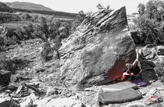 Rock Climbing Photo: Making the first crossover move to the arete, then...