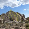 Topo for Watergate Rock, Joshua Tree NP<br> <br> A. Unsightly Blemishes (5.7)<br> B. I Am Not a Crook (5.8)<br> C. Pardon Me (5.9 R)<br> D. White Collar Crime (5.6)<br> E. H. R. Hardman (5.8)<br> F. Tricky Dick (5.9)<br> G. Political Asylum (5.7)<br> H. Fifteen Minute Gap (5.6)<br> I. T-N-T (5.10c)<br> J. Dirty Tricks (5.11d)<br> K. Malicious Deception (5.11b)<br> L. T. Gordon Liddy (5.11a)<br> M. Ed (5.11+ TR)