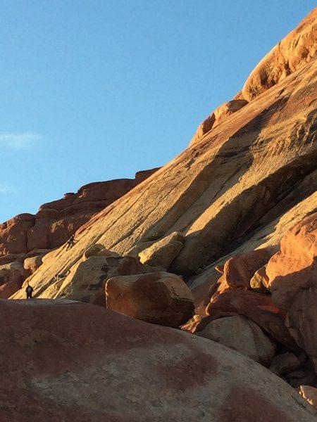 Rock Climbing Photo: Some climbers taking advantage of the late sun. Ta...