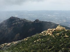 Rock Climbing Photo: Looking down at the back side of Cathedral Peak fr...
