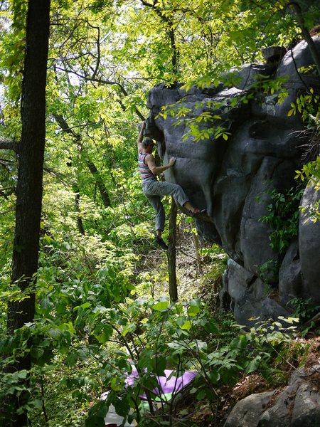 Rock Climbing Photo: Beta.  Hitting the jug.  Photo satermo.  Excellent...
