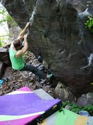 Rock Climbing Photo: Satermo moving up the rail