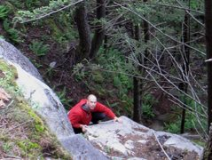 Rock Climbing Photo: Midway up the first pitch. At the top of the block...