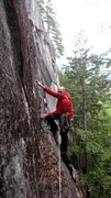 Rock Climbing Photo: Top of the first pitch, about to traverse to the b...