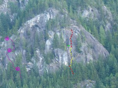 Rock Climbing Photo: Dotted purple line on the left side of Lookout Poi...