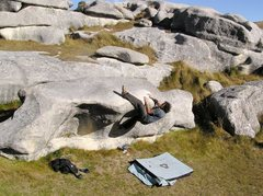 Rock Climbing Photo: Henning Wang (Norway) working on the mantle testpi...