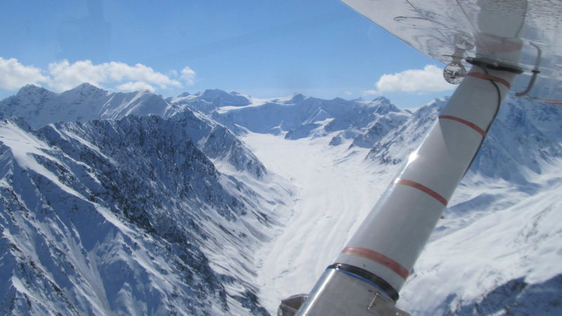 Looking up the Powell Glacier at Turtle Flats. The pilot, Mike Meekins, says he has landed NOLS up there in the past.