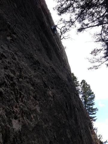Rock Climbing Photo: Up high on Twilight Chainsaw