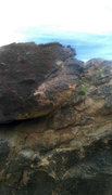 Rock Climbing Photo: Right edge of top boulder. This edge starts at the...