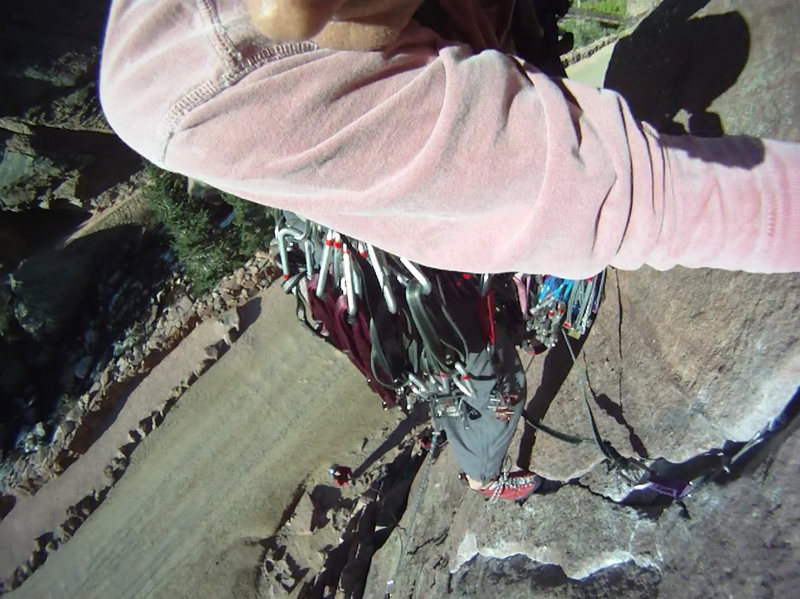 Rock Climbing Photo: Bastille Crack, looking down from 1st pitch crux