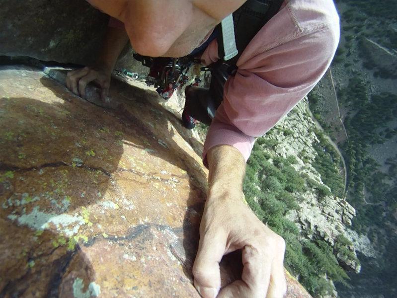 Rock Climbing Photo: Grippin' the Wall on Rewritten, El Dorado Canyon
