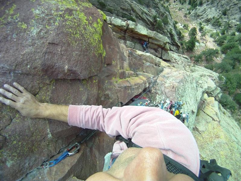 Rock Climbing Photo: Exposure on Rewritten, El Dorado Canyon