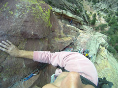 Rock Climbing Photo: Exposure on Rewritten, El Dorado Canyon