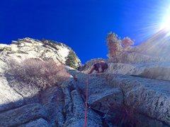 Rock Climbing Photo: Sean lie backing the Splitter 5.7 corner, Pitch 1!...