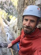Rock Climbing Photo: Howard selfie time at the crux of the chimney pitc...