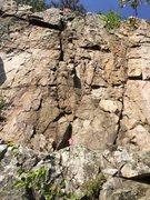 Rock Climbing Photo: Follow Pink arrow up large crack to the star