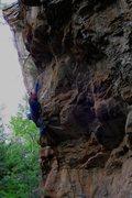 Rock Climbing Photo: David Bloom on Sawed Off Shovel, with Chasing Drag...