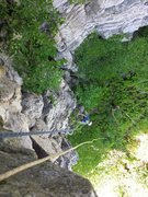 Rock Climbing Photo: View from top with climber on top rope