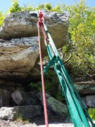 Rock Climbing Photo: TR anchor hung over the diving board flake, with a...