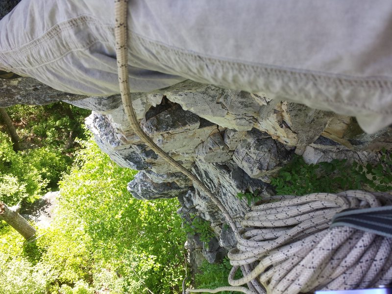 view of the inside dihedral and right side of the arete going up.  fun easy moves and pretty rock and views.